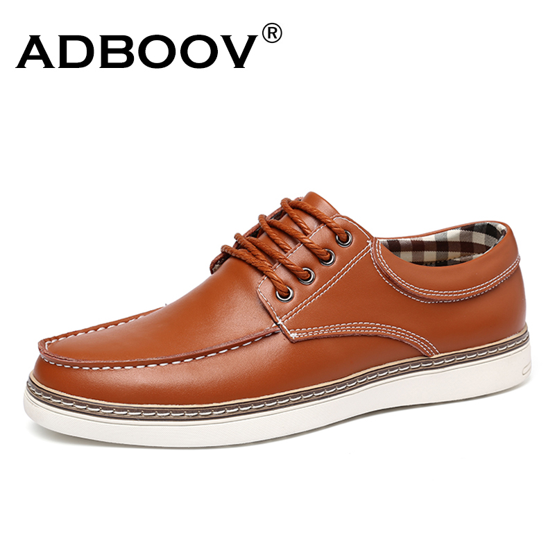 ADBOOV Men's Big Size Leather Casual Shoes Spring Autumn Man Fashion Lace-Up Dress Shoes Oxford Low Top Plus Size Flats Sapatos mens casual leather shoes hot sale spring autumn men fashion slip on genuine leather shoes man low top light flats sapatos hot