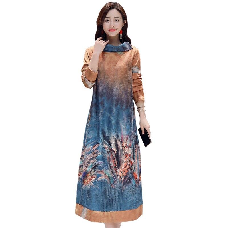 Femmes robes 2018 nouveau automne et hiver mode tempérament lâche mince robe de haute qualité élégant col haut sexy robe