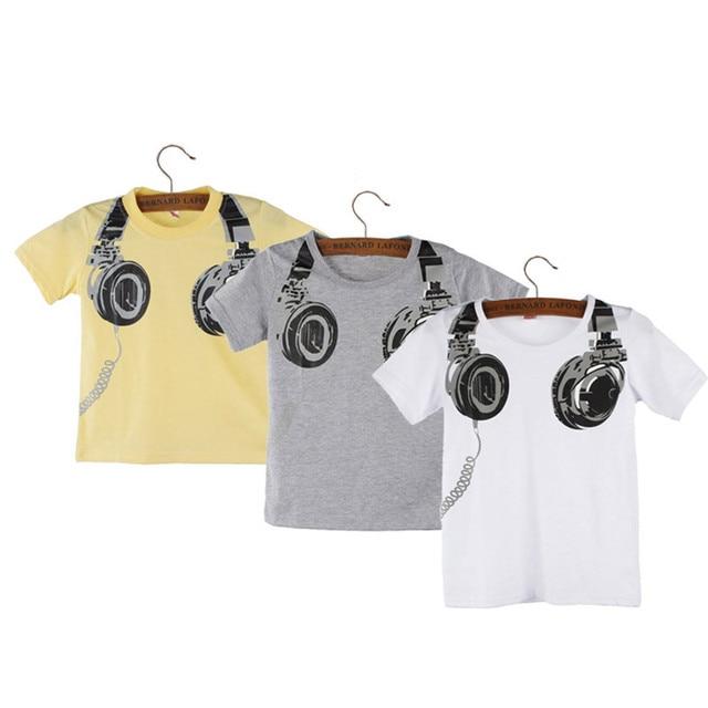 Camiseta de algodón de alta calidad para niño 2018 divertida Impresión de auriculares niños camisetas niños Tops Casual manga corta niños camiseta