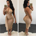 2016 summer women clothing dress sexy party club bandage solid khaki winered bosycon casual vestidos backless dresses XD813