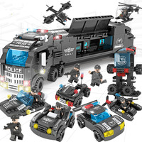 A set FunnyToys 8in1 Military command Truck SWAT Soldiers Building Blocks Compatible Legoed Police DIY Bricks For Children