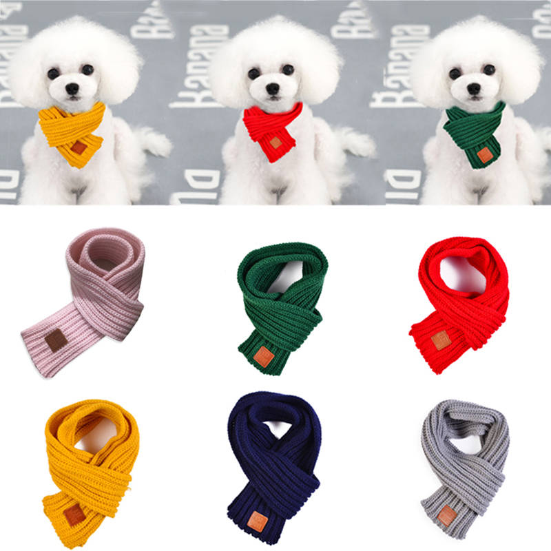 Pet Dog Cat Neck Scarf Warm Soft Knitting Scarf For Large Medium Dogs Winter Warmer Pet Accessories Dog Collar Pet Supply