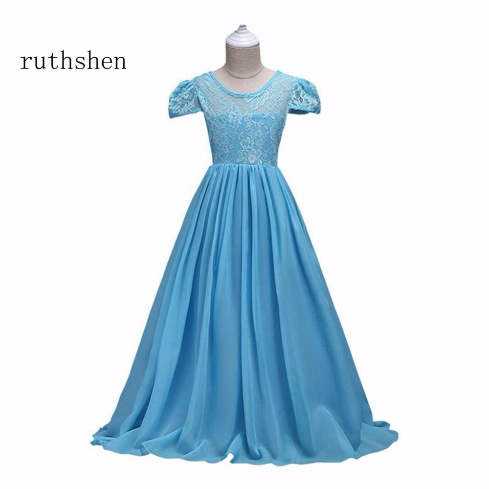 ruthshen Charming Long Lace Chiffon Princess Flower Girl Dresses ...