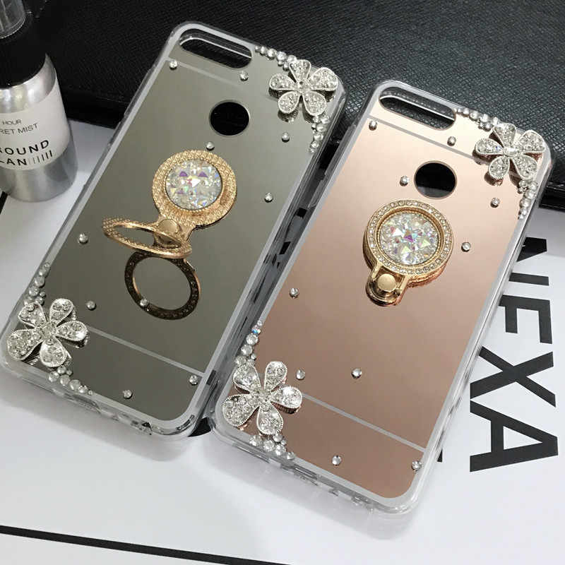 Mirror Bling holder Case For Huawei P20 Lite Honor 7C 7A Pro Y5 Y9 Y7 Y6 Prime 2018 Honor 8X 8C 10 i 8 9 Lite P Smart Plus 2019