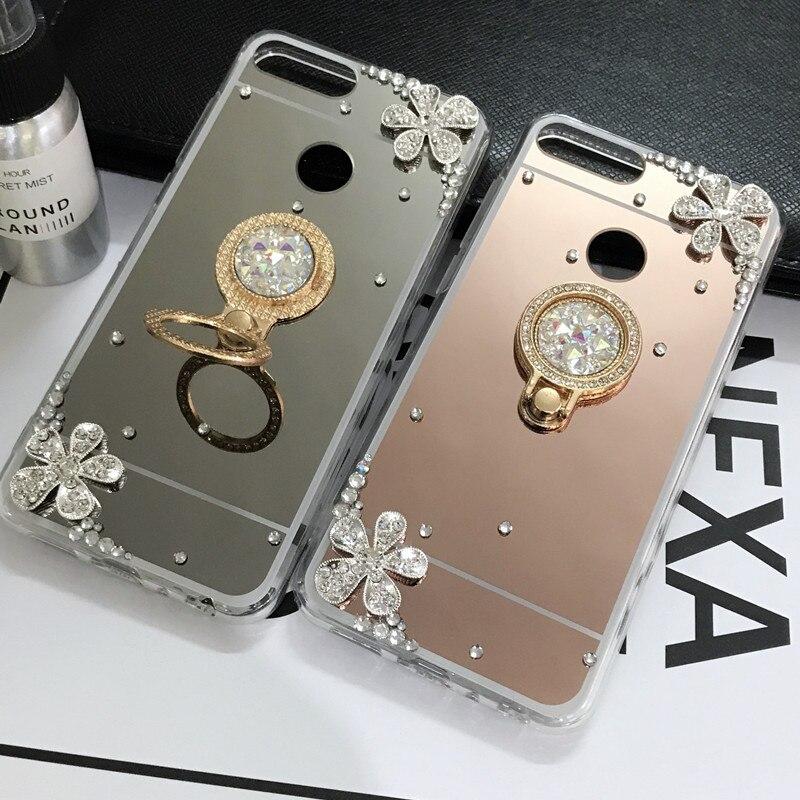 Зеркало Bling держатель чехол для huawei P20 Lite Honor 7C 7A Pro Y5 Y9 Y7 Y6 Prime 2018 Honor 8X 8C 10 8 9 Lite P Smart плюс 2019