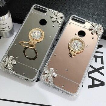 Mirror Bling holder Case For Huawei P20 Lite Honor 7C 7A Pro Y5 Y9 Y7 Y6 Prime 2018 Honor 8X 8C 10 8 9 Lite P Smart Plus 2019