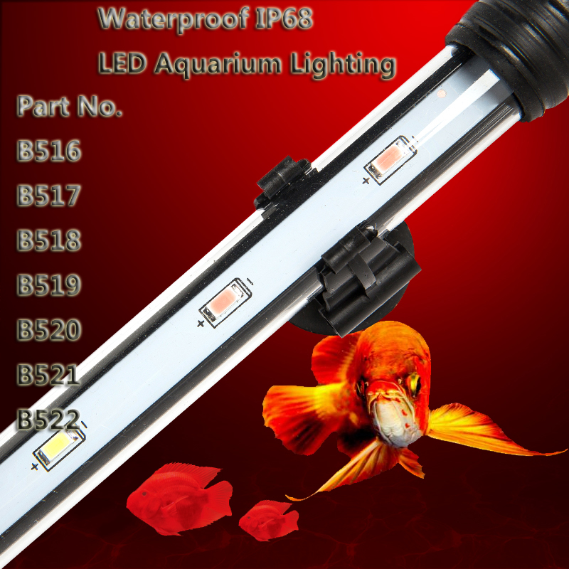 58cm 9W LEDs Aquarium Fish Tank Light Strip Bar Lamp with Suction Stick White Red Optional Submersible Waterproof Free shipping 18cm 30cm aquarium led strip bar light tube 1w 2 4w waterproof submersible fish tank lamp smd5050 white blue decor lighting