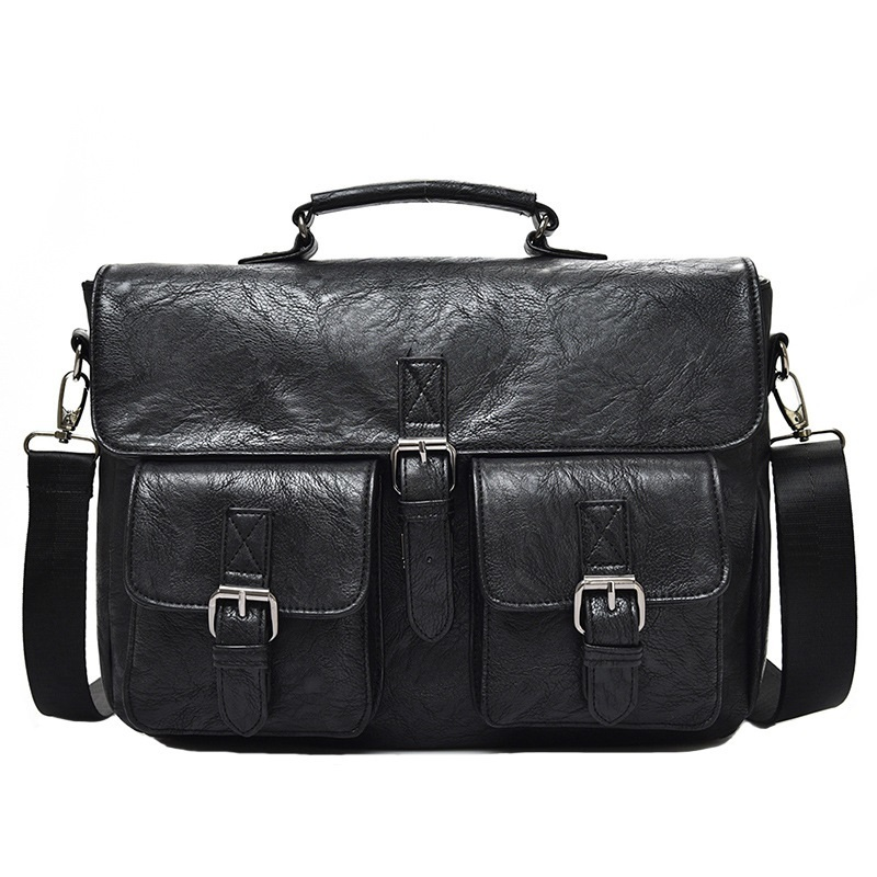 Multifunctional Men Shoulder Diagonal Bag Business Briefcase Pu Leather Mens Fashion 14 Inch Bags