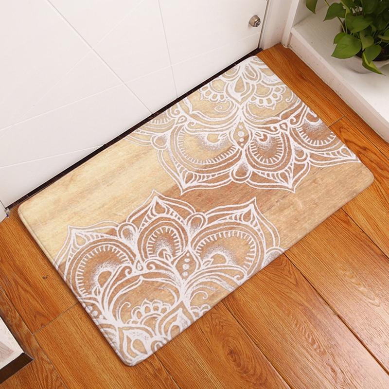 Homemiyn Modern New Bath Mat Wood Texture White Floral