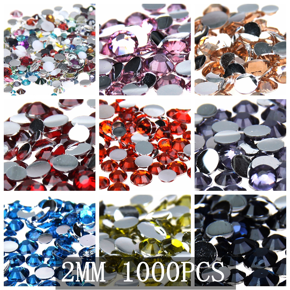 Purple 1000pcs Resin Rhinestones Beads Flat Back Diamante Nail Art Craft Gems