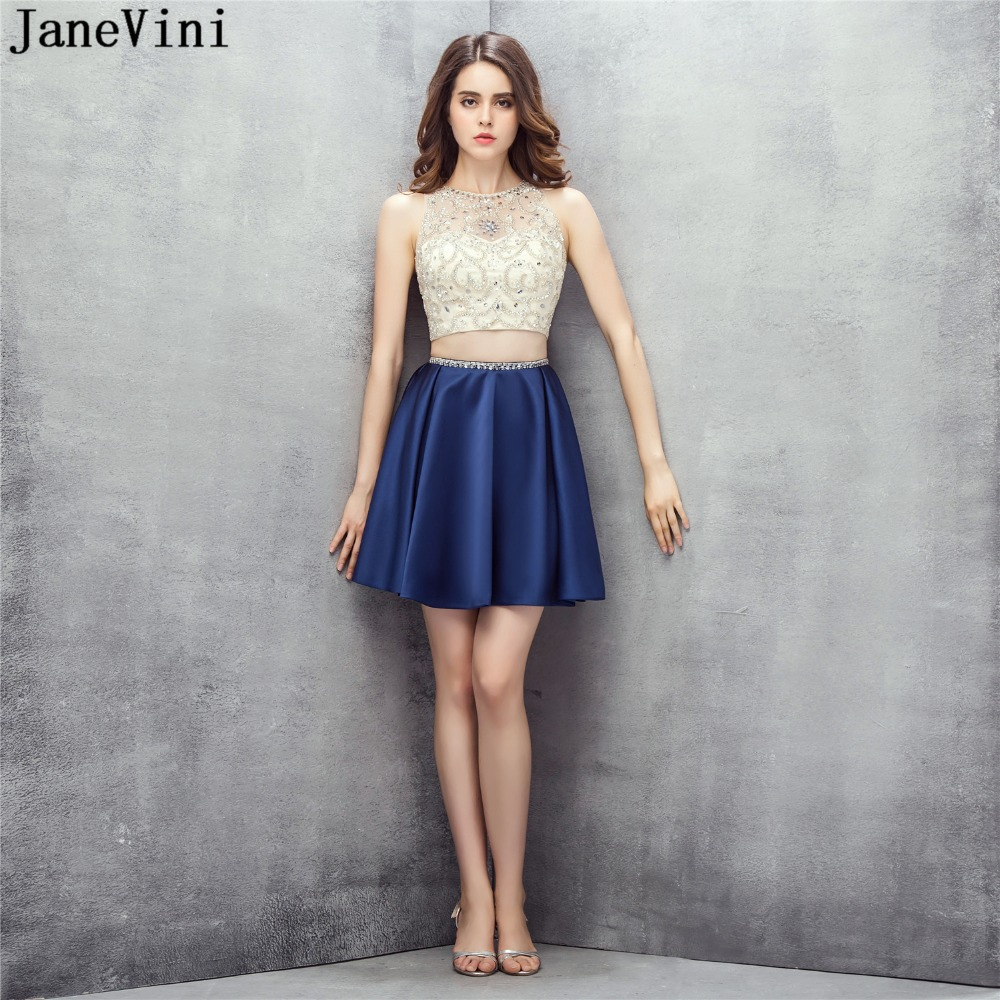 JaneVini Graceful Two Pieces Bridesmaid Dresses For Women A Line Sequined Beaded Illusion Back Plus Size Satin Formal Prom Gowns
