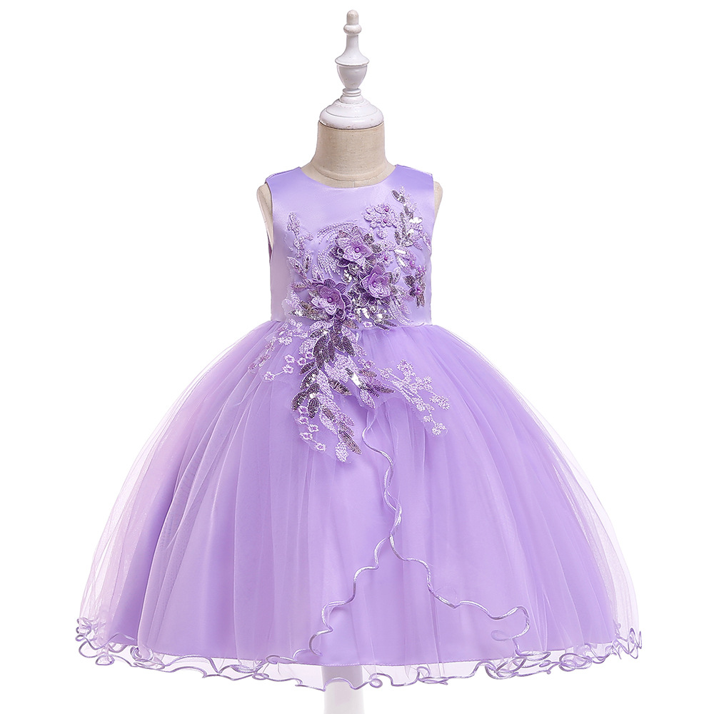 Light Purple   Flower     Girl     Dresses   For Wedding Tulle A- line Lace Appliques Children   Dresses   for Prom Evening