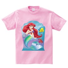 Free shipping Kids Clothes Beautiful Mermaid Ariel Cartoon animation Baby T Shirt Children's Clothing Boys and girls t shirts  N hot sale kids cartoon boys and girls long sleeved t shirt casual clothing gray kitty pink black free shipping available