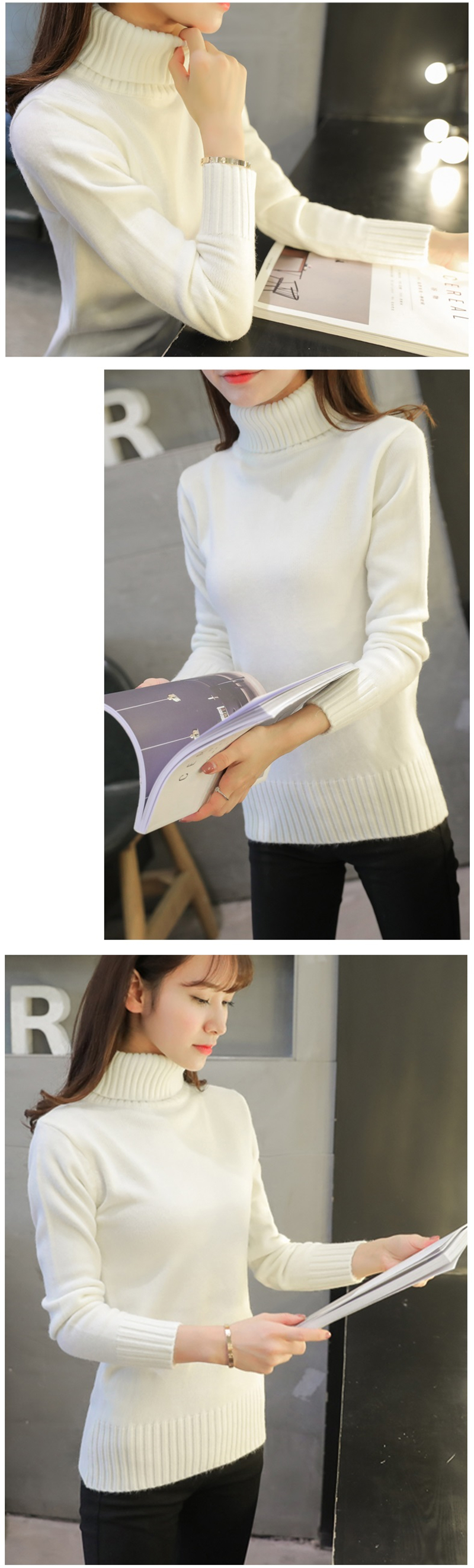 18 New Autumn winter Women Knitted Sweaters Pullovers Turtleneck Long Sleeve Solid Color Slim Elastic Short Sweater Women K861 5