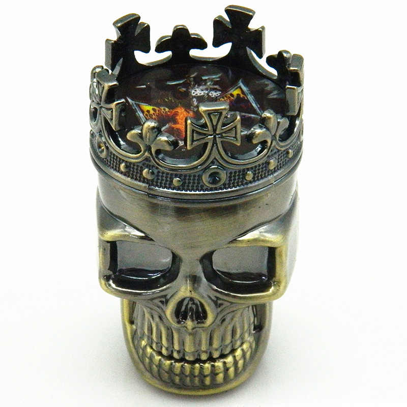 3 שכבות מלך גולגולת דפוס מטחנות הרב מטחנות עישון מגרסה תופס אבקה מגרסה יד מל טבק עישון כלי