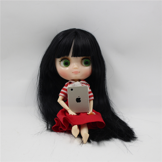 Factory Blyth Doll  Nude Doll Middle Blyth 20Cm Long Straight Black Hair Joint Body Eyes Can Move(Gift 2 gesture)