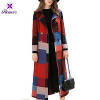 Plus Size Wool Coat Women Autumn Winter New Outerwear Korean Fashion Cashmere Plaid Coat Female Slim Thin Long Coat Women LQ335