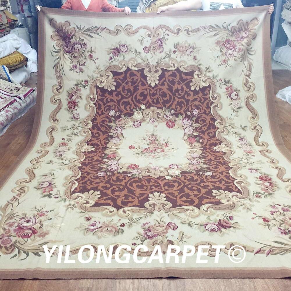Yilong 8'x10' haut de gamme Aubusson design français tapis aubusson fait main en laine néo-zélandaise (Au14-8x10)