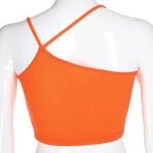 Waatfaak Orange Asymmetric Collar Harajuku Cami Embroidery Letter Graphic Open Back Cropped Top Women Sexy Summer Spaghetti Tank Tops