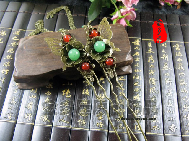 Antique Bronze color hair stick classical costume handmade accessories hanfu cheongsam hair accessory price is for 1 pair pink crystal double layer classical hair stick vintage hair accessory hair stick hanfu hair accessory