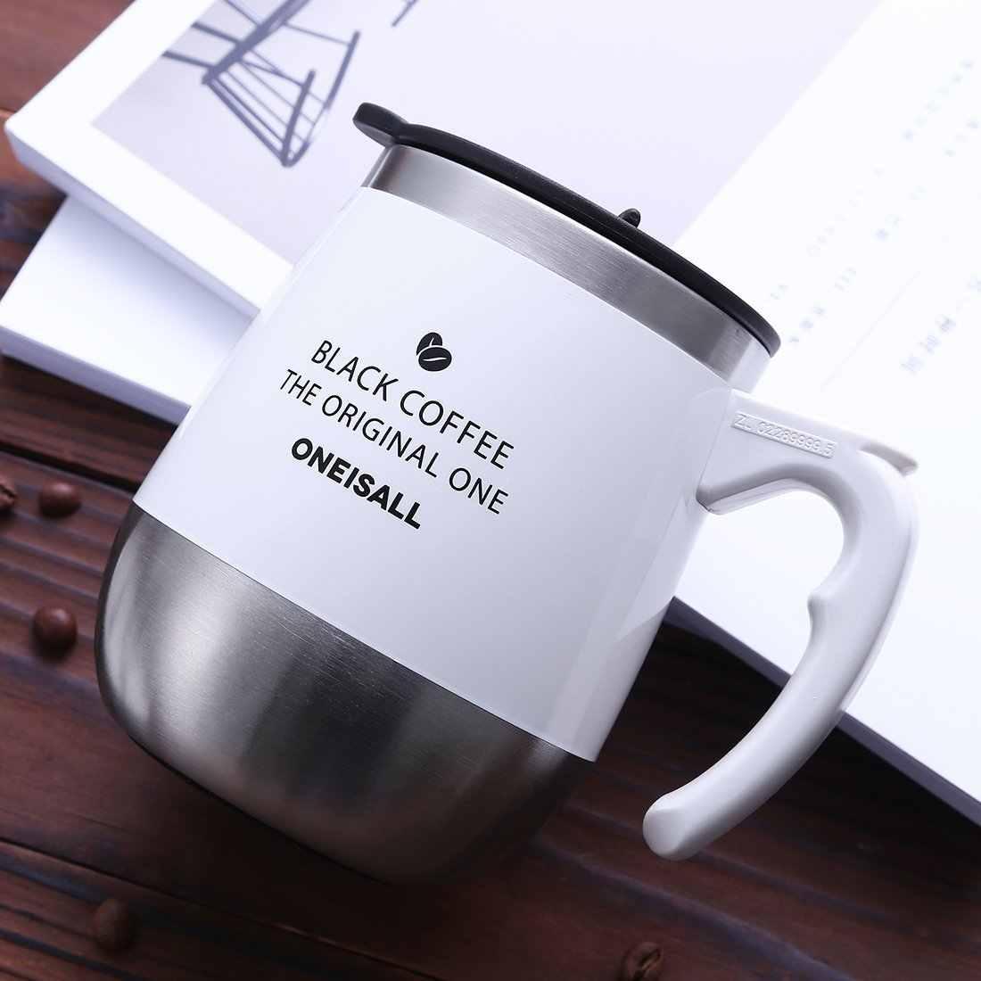 9ad2b6dfaf5 ... ONEISALL 450ML/15oz Coffee Travel Mug Stainless Steel Hot Milk Thermal  Mug With Handle,