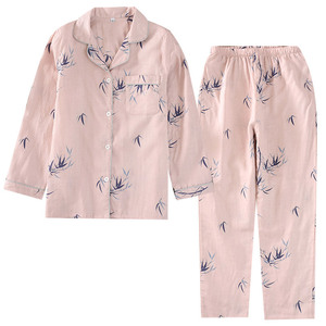 Image 2 - Style chinois Couple Pyjamas hommes et femmes 100% coton gaze à manches longues pyjama ensemble bambou Pijama Mujer femmes Pyjamas 2 pièces