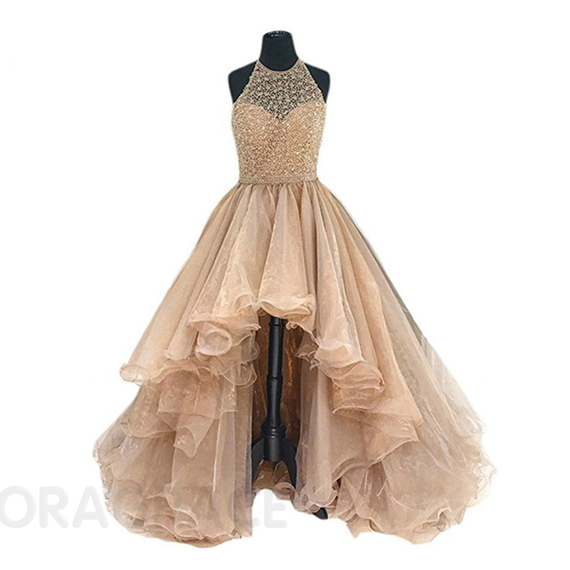 Doragrace Glamorous High Low Organza Beaded Evening Party Dresses Prom Gowns Plus Size in Prom Dresses from Weddings Events