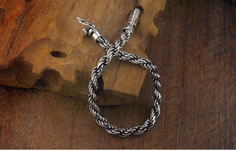 100 Genuine 925 Sterling Silver Men Bracelet Vintage Thai silver Woven Bracelet Fashion Jewelry Birthday Day Gifts in Chain Link Bracelets from Jewelry Accessories