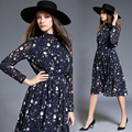 Plus size nueva bata 2016 otoño vestidos de manga larga de gasa de la moda femenina oficina dress impreso vintage partido mujeres lf-m-00023