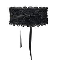 Узор ткачество пояса для Для женщин бантом Искусственная кожа Кружево широкий пояс с завязкой Оби cinch пояс Boho ремень SY03