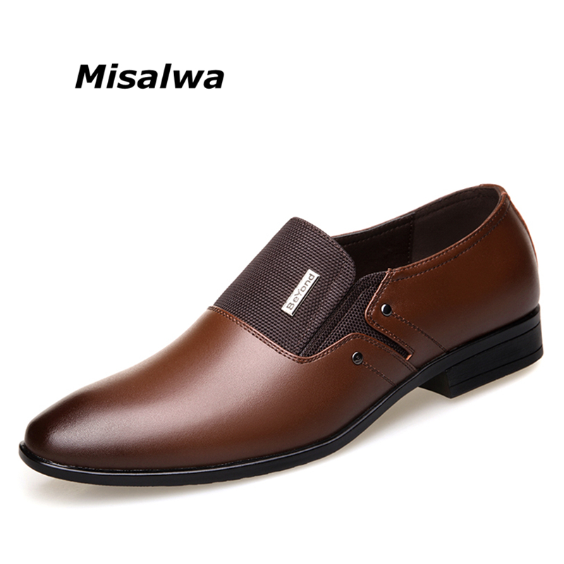Misalwa Spring Autumn Men Formal Wedding Shoes Luxury Men Business Dress Shoes Men Loafers Pointy Shoes Big Size 38 47