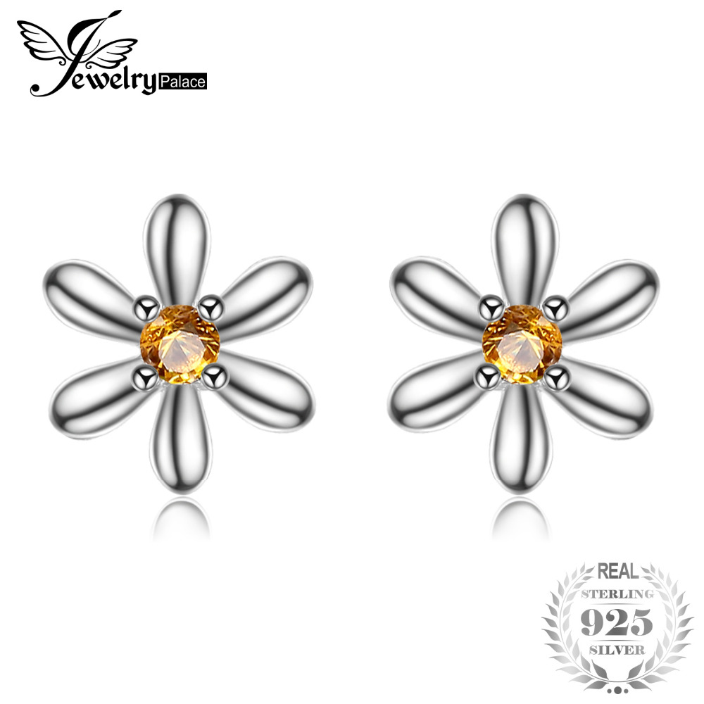 JewelryPalace Flowers Created Orange Sapphire Stud Earrings 925 Sterling Silver Nice Gift For Best Friends Girl Fashion Earrings
