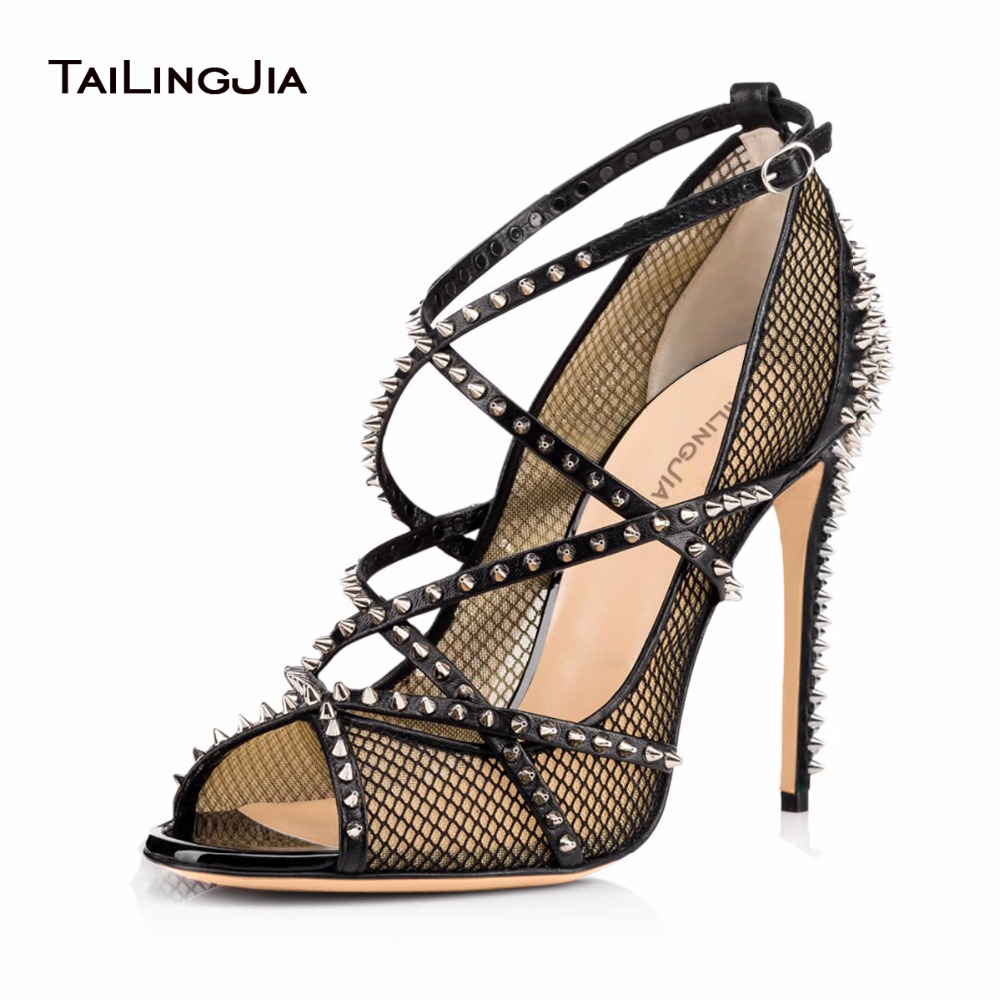 cfaf880cd44 Women Sliver Spikes Fishnet Extreme High Heels 2017 Sexy Ladies Strappy  Pumps Black Mesh Shoes Peep Toe Rivets Sandals Stilettos-in Women s Pumps  from Shoes ...