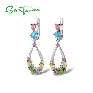 Image 5 - Santuzza ピアス女性 925 スターリングシルバーブラブライヤリングロングシルバー 925 カラフルな石 brincos ファッションジュエリー