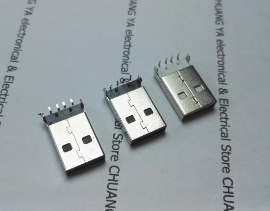 USB 2.0 A Male Plug Connectors SMD Or 90 Degree Curved Needle / White Or Black