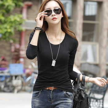T-shirt Female Long-sleeved T-shirt Female Student Loose Wild Casual Solid Color Plus Size TOPS New Arrival 2018 T-Shirts