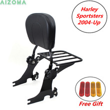 Motorcycle Sissy Bar Backrest Black Luggage Rack w/ Passengers Pad For Harley Sportster xl883 xl1200 SuperLow Forty-eight Custom black detachable rear passenger sissy bar backrest luggage rack with cushion pad for harley sportster xl1200 xl883 2004 2017