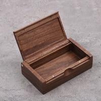 Beech wood walnut wood storage box square custom pendant ring box Multi functional jewelry small box processing 120*70*32mm