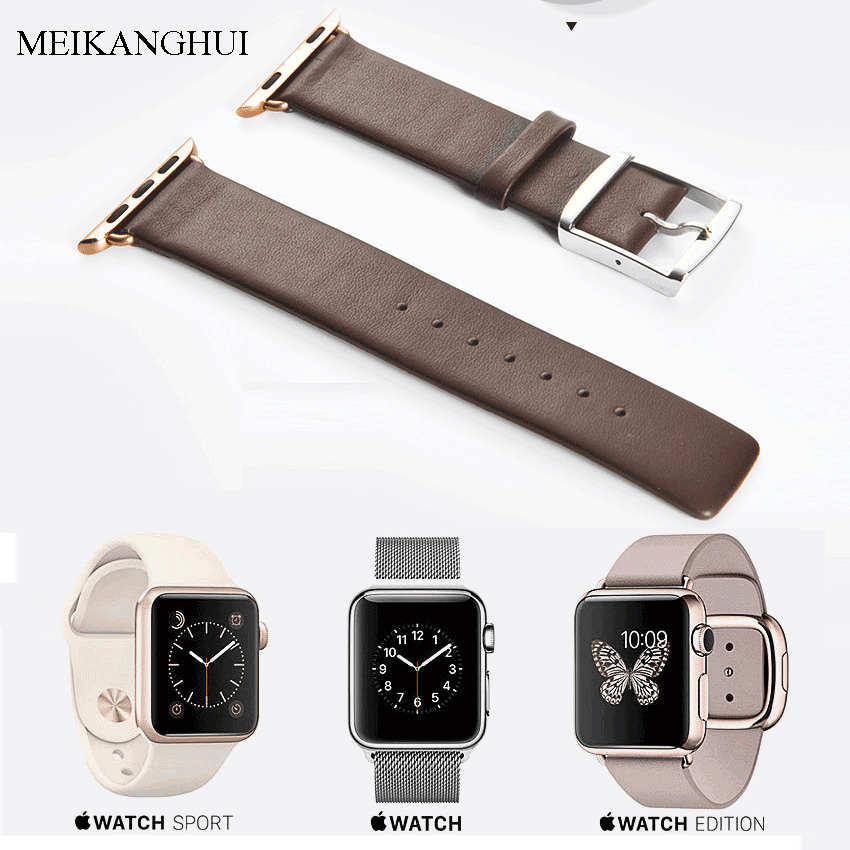 MEIKANGHUI Genuine Leather Watchbands Fits-all of Apple Watch Series 1-2 iWatch Sports Buckle 38mm 42mm For Women /Men