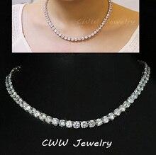 Chispeante de lujo Oro Blanco Plateado 0.8 CM Grandes Quilates Cubic Zirconia Diamante Redondo Cristalino Collares Del Ahogador Para Las Mujeres CP044