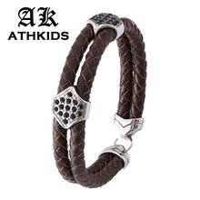 цена на 2019 Fashion Jewelry Genuine Leather Bracelet Men Steel Buckle Bracelets For Women Best Friend Gift Hot Sale Brown Bangle PD0208