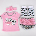Popularbaby girl t-shirt+bloomer+Headband+leg warmer Summer-Autumn style Lovely cow Newbron baby girl Clothing Set