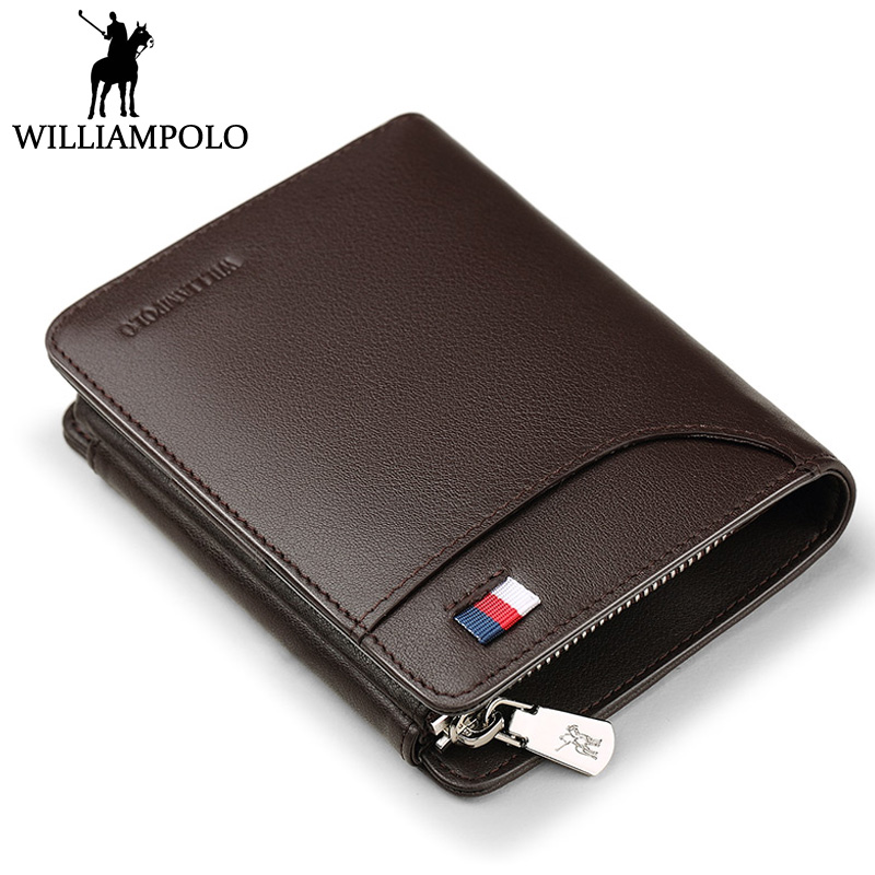 WILLIAMPOLO Men Wallet Leather Clip Purse Card Holder Coin Pocket Hasp Design Money Bag Small Zipper Pouch Cowhide Male Wallets цена