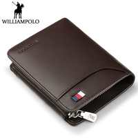WILLIAMPOLO Men Wallet Leather Clip Purse Card Holder Coin Pocket Hasp Design Money Bag Small Zipper Pouch Cowhide Male Wallets