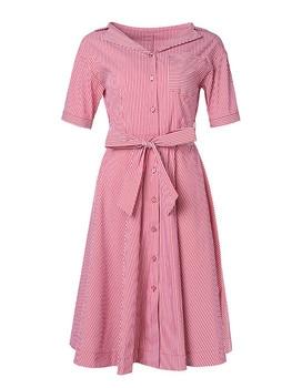High Quality 2019 Summer New Dress Women's Fashion Amazing Short Sleeve Print Stripe Long Section A Word Dress Female Trend L308