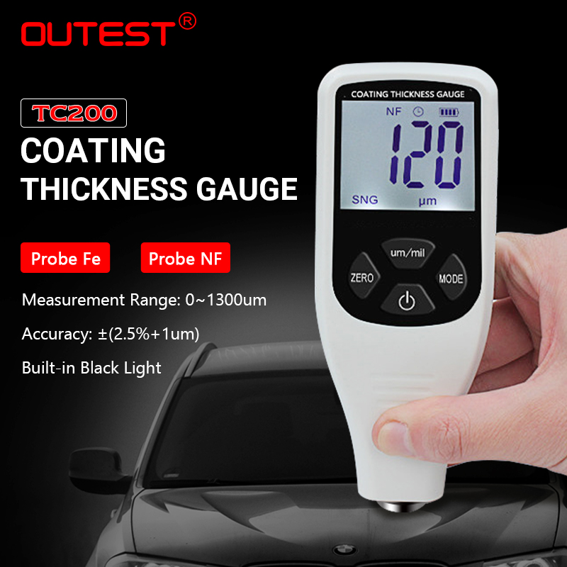 OUTEST Digital Mini Coating Thickness Gauge Car Paint Thickness Meter Paint Thickness tester Thickness Gauge 0~1300um digital paint meter coating thickness gauge 0 1300um paint film metal surface tester car coating paint thickness gauge meter