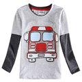 Top ropa de los niños nova 2015 el más nuevo diseño 100% de algodón de manga larga con patten boy t-shirt de moda otoño del resorte de la alta calidad