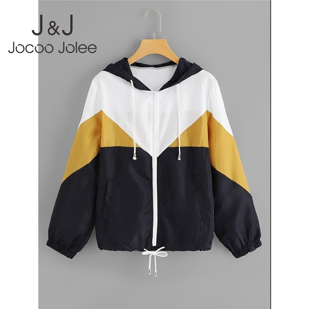 Jocoo Jolee Women Spring Autumn Hooded   Jackets   Female Zipper Pockets Casual Long Sleeves Coats Two Tone Windbreaker   Basic     Jacket