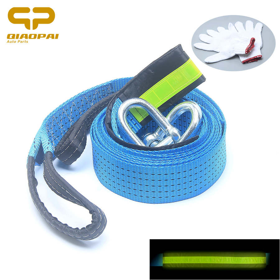 Universal 5M 8 Ton Car Synthetic Strength Nylon Luminous Tow Rope Vehicle Pulling Strap Rope Hooks