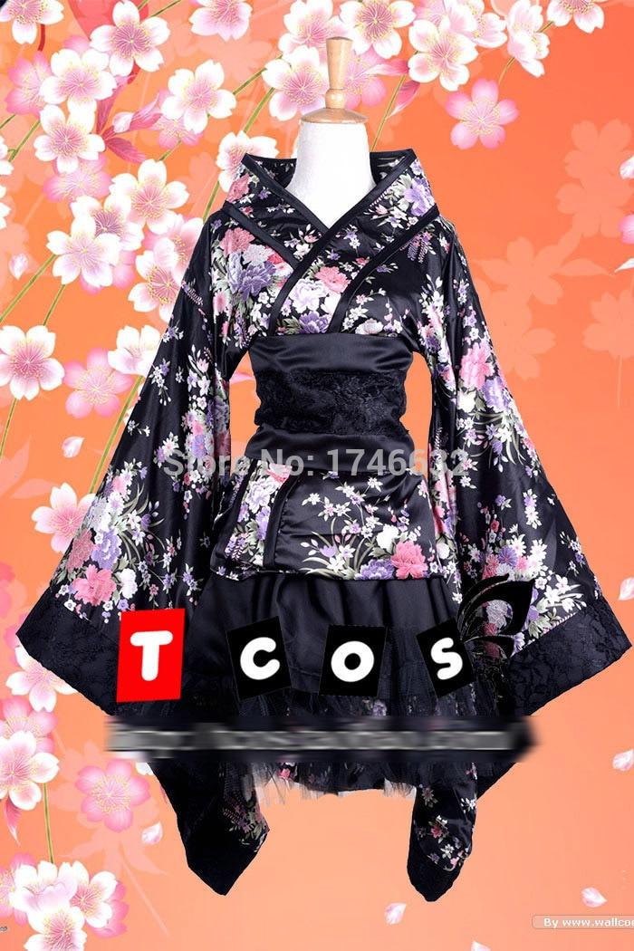 Lolita Maid Woman Cosplay Costume Japanese Kimono Cherry Blossom Festival Party Dress